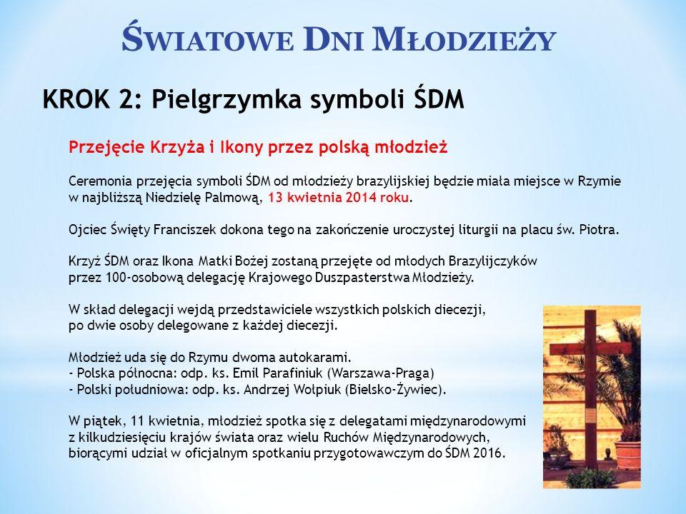 Ś WIATOWE D NI M ŁODZIEŻY Przejęcie Krzyża i Ikony przez polską młodzież Ceremonia przejęcia symboli ŚDM od młodzieży brazylijskiej będzie miała miejs