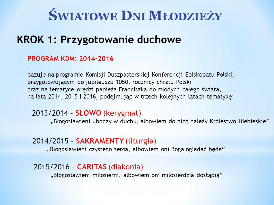 Ś WIATOWE D NI M ŁODZIEŻY PROGRAM KDM: 2014-2016 bazuje na programie Komisji Duszpasterskiej Konferencji Episkopatu Polski, przygotowującym do jubileu