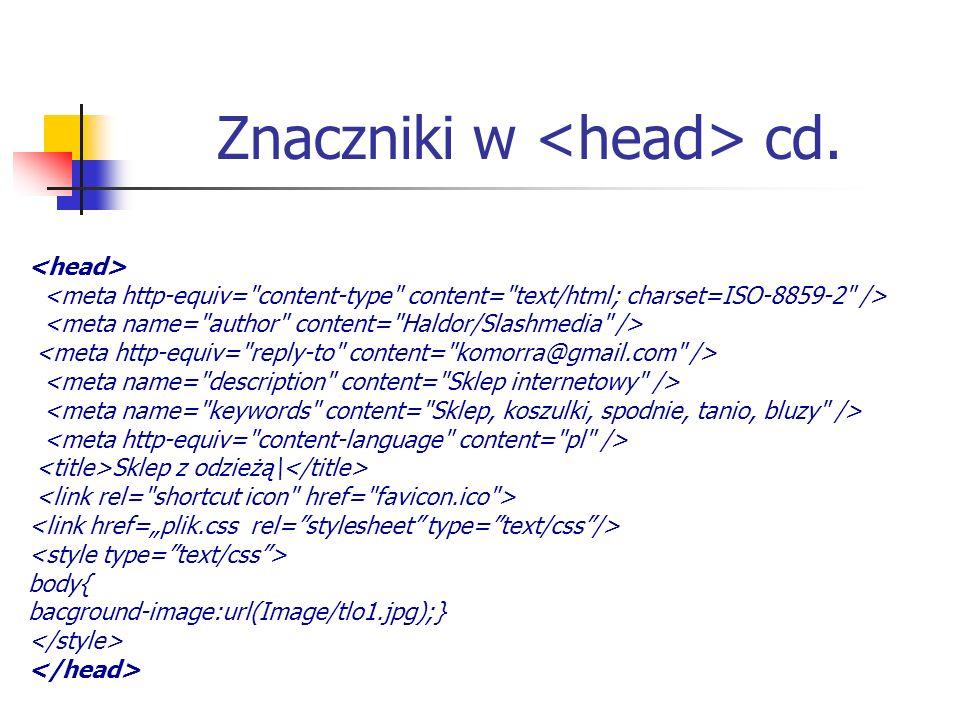 Znaczniki w cd. Sklep z odzieżą\ body{ bacground-image:url(Image/tlo1.jpg);}