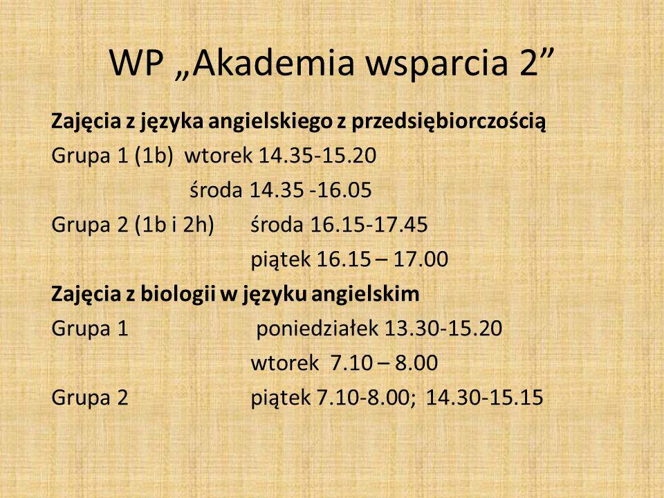 WP Akademia wsparcia 2 Zajęcia z języka angielskiego z przedsiębiorczością Grupa 1 (1b) wtorek 14.35-15.20 środa 14.35 -16.05 Grupa 2 (1b i 2h) środa 16.15-17.45 piątek 16.15 – 17.00 Zajęcia z biologii w języku angielskim Grupa 1 poniedziałek 13.30-15.20 wtorek 7.10 – 8.00 Grupa 2 piątek 7.10-8.00; 14.30-15.15
