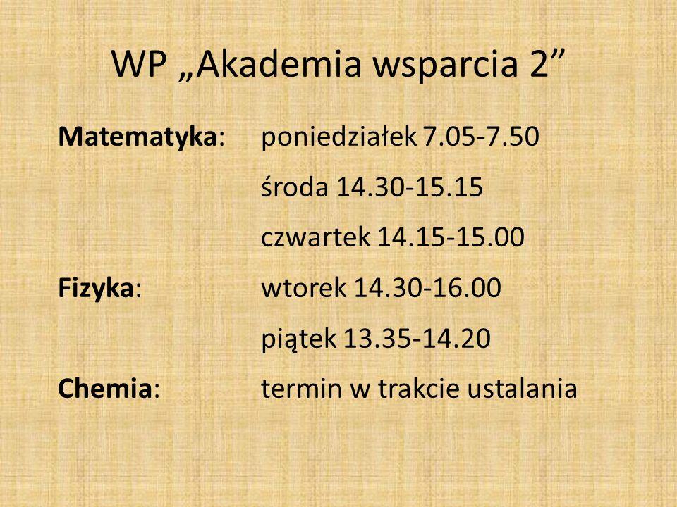 WP Akademia wsparcia 2 Matematyka: poniedziałek 7.05-7.50 środa 14.30-15.15 czwartek 14.15-15.00 Fizyka: wtorek 14.30-16.00 piątek 13.35-14.20 Chemia: termin w trakcie ustalania