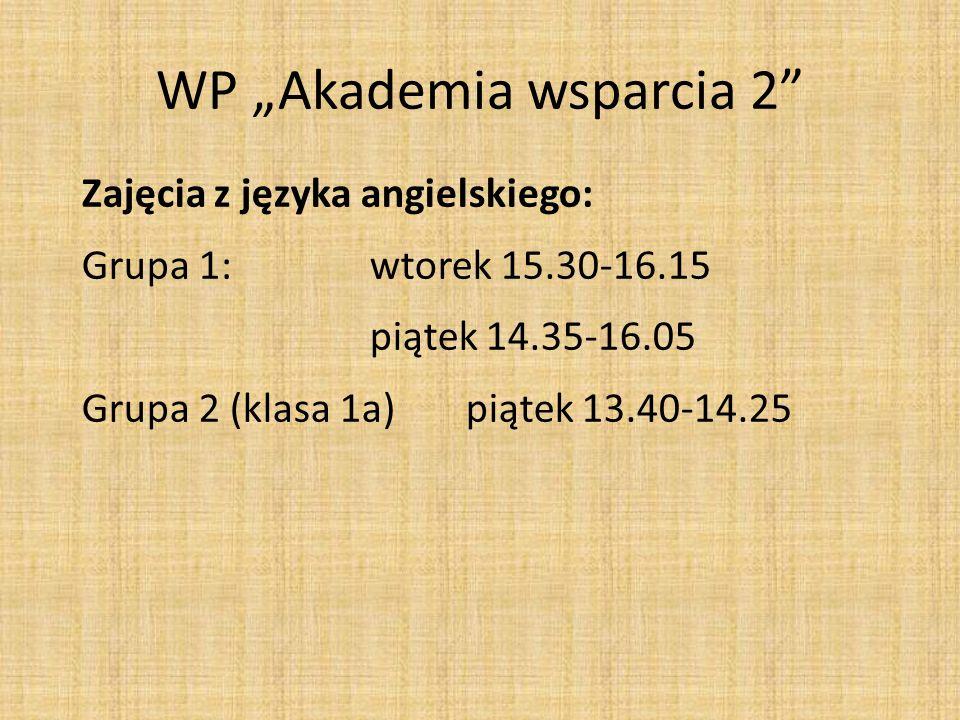 WP Akademia wsparcia 2 Zajęcia z języka angielskiego: Grupa 1: wtorek 15.30-16.15 piątek 14.35-16.05 Grupa 2 (klasa 1a) piątek 13.40-14.25