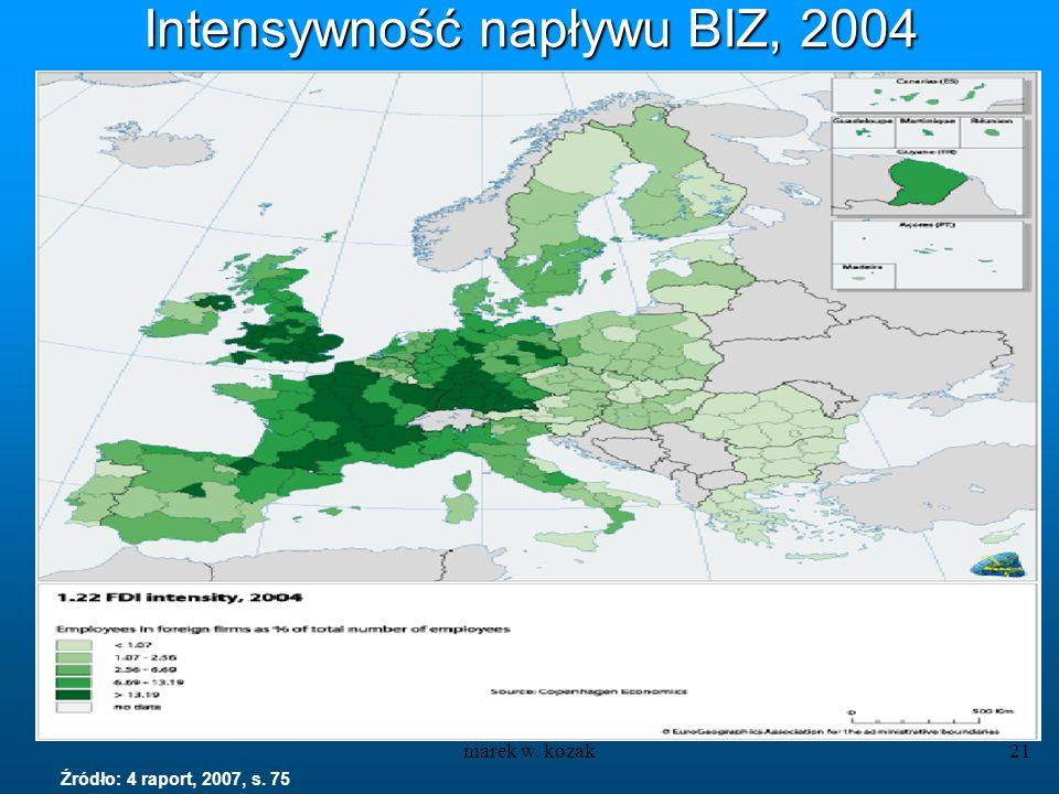 marek w. kozak21 Intensywność napływu BIZ, 2004 Źródło: 4 raport, 2007, s. 75