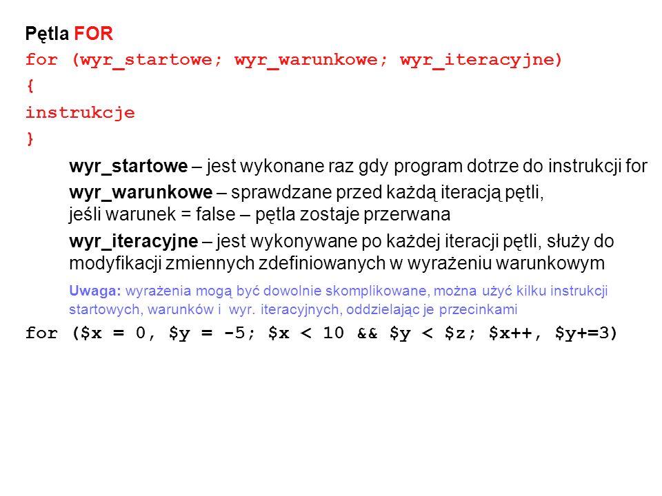 Pętla FOR for (wyr_startowe; wyr_warunkowe; wyr_iteracyjne) { instrukcje } wyr_startowe – jest wykonane raz gdy program dotrze do instrukcji for wyr_w
