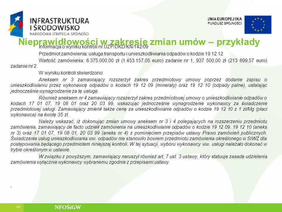 Nieprawidłowości w zakresie zmian umów – przykłady Informacja o wyniku kontroli nr UZP/DKD/KN/142/09 Przedmiot zamówienia: usługa transportu i unieszk