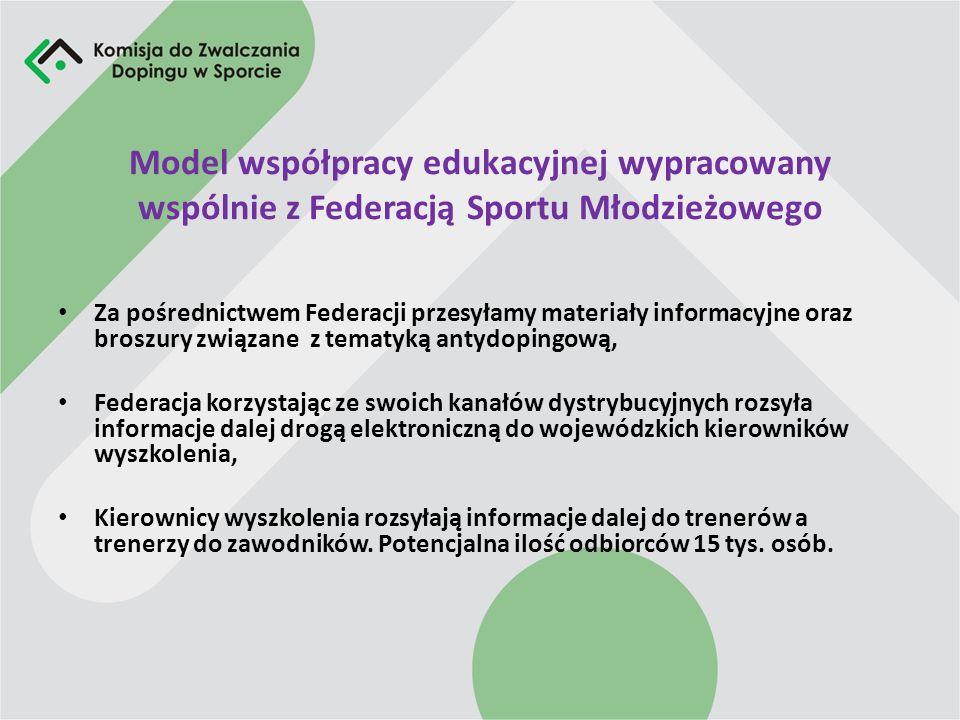 Działalność edukacyjno-informacyjna Wspólne przeprowadzanie szkoleń antydopingowych, Współpraca w zakresie przesyłania informacji i materiałów edukacy
