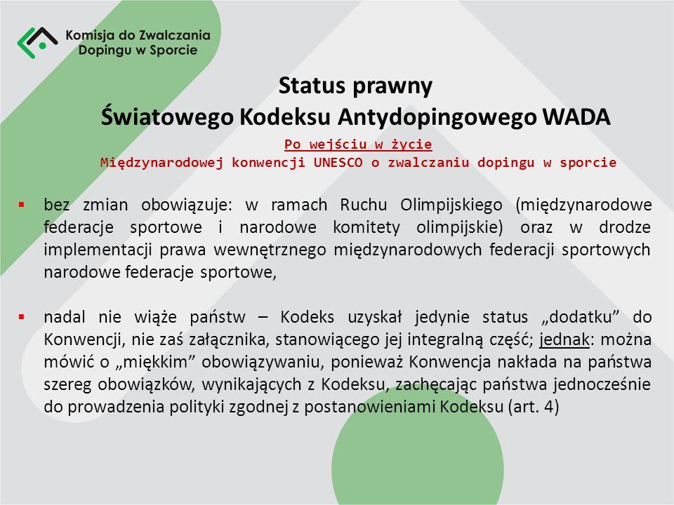 Schemat obowiązywania Światowego Kodeksu Antydopingowego WADA Przed wejściem w życie Międzynarodowej konwencji UNESCO o zwalczaniu dopingu w sporcie Z