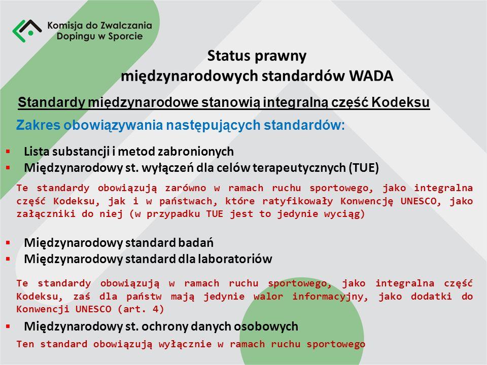 Status prawny międzynarodowych standardów WADA Lista substancji i metod zabronionych Międzynarodowy st.