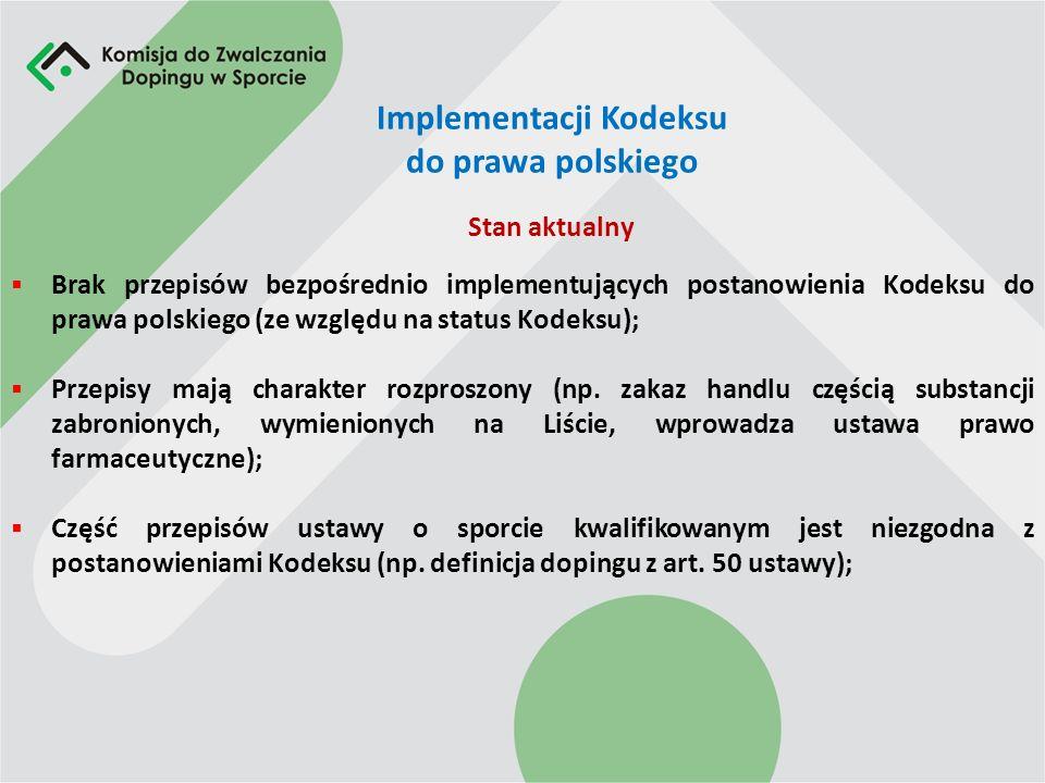 Implementacji Kodeksu do prawa polskiego Brak przepisów bezpośrednio implementujących postanowienia Kodeksu do prawa polskiego (ze względu na status Kodeksu); Przepisy mają charakter rozproszony (np.
