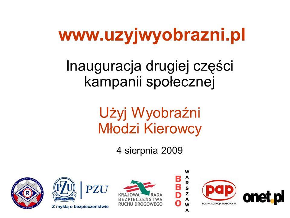 Inauguracja drugiej części kampanii społecznej Użyj Wyobraźni Młodzi Kierowcy 4 sierpnia 2009 www.uzyjwyobrazni.pl