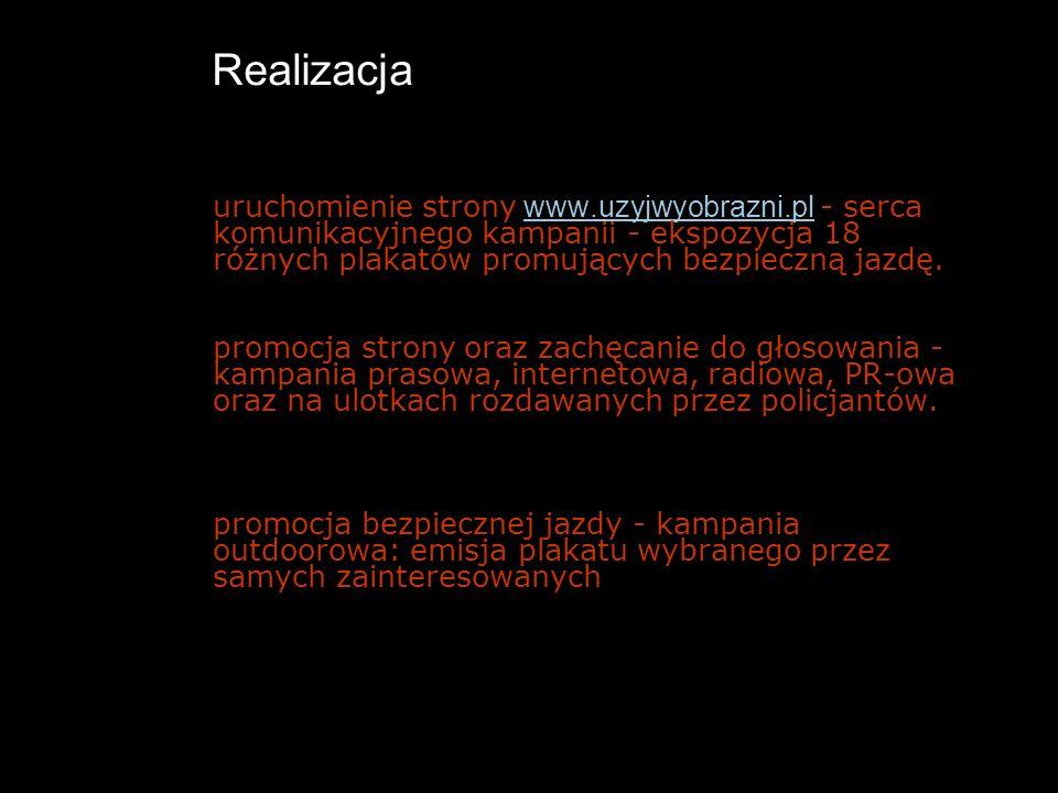 Realizacja uruchomienie strony www.uzyjwyobrazni.pl - serca komunikacyjnego kampanii - ekspozycja 18 różnych plakatów promujących bezpieczną jazdę. ww