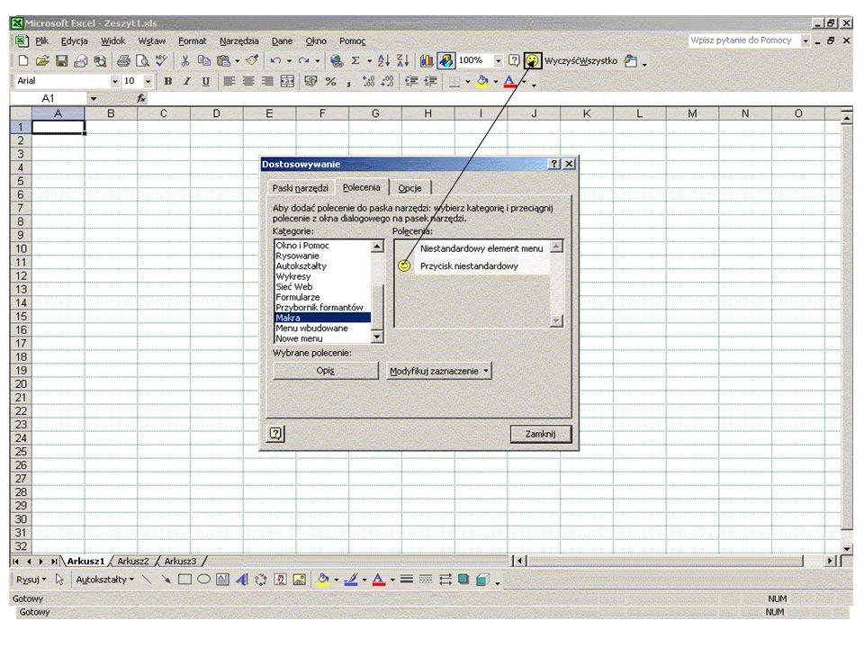 Elementy programowania64 Bezpieczeństwo makr Program Excel zapewnia ochronę przed wirusami, które mogą być przenoszone w makrach.