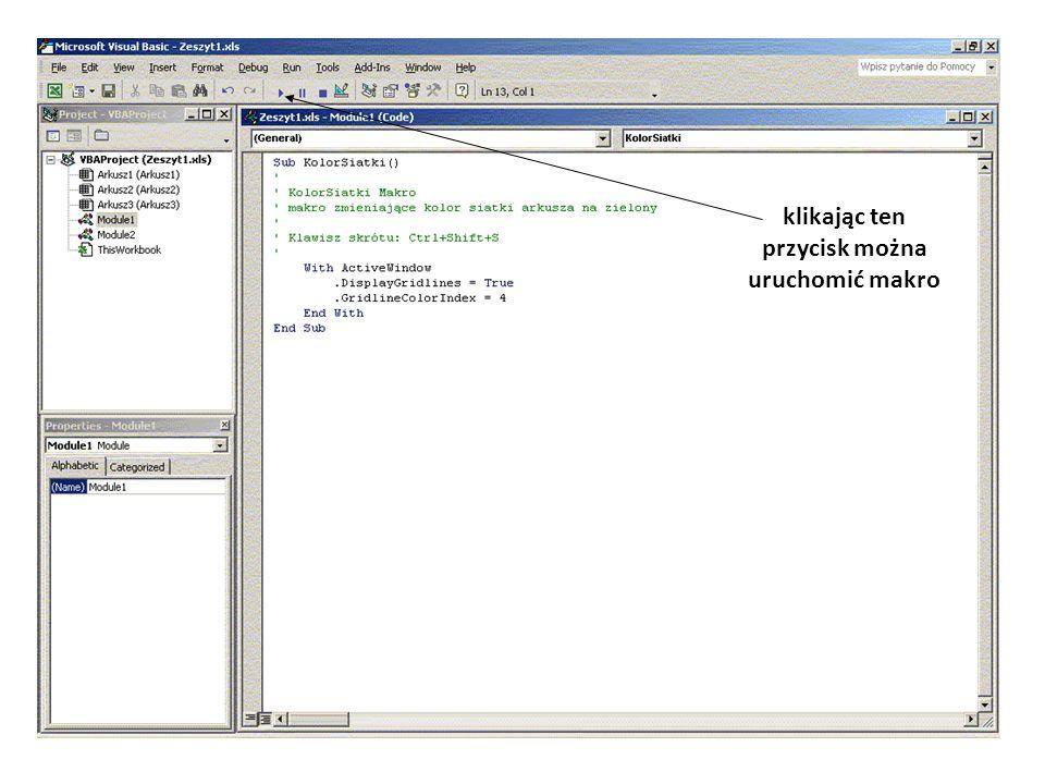 Elementy programowania79 Przyrostki Używane są w deklaracji zmiennych skracając zapis tej deklaracji: Dim Wiek % - oznacza, że zmienna Wiek jest typu Integer PrzyrostekTyp danych %Integer &Long !Single #Double @Currency $String