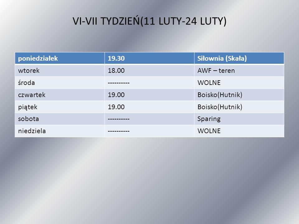 VI-VII TYDZIEŃ(11 LUTY-24 LUTY) poniedziałek19.30Siłownia (Skała) wtorek18.00AWF – teren środa----------WOLNE czwartek19.00Boisko(Hutnik) piątek19.00B