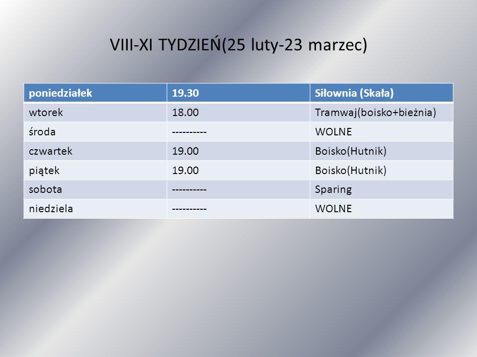 VIII-XI TYDZIEŃ(25 luty-23 marzec) poniedziałek19.30Siłownia (Skała) wtorek18.00Tramwaj(boisko+bieżnia) środa----------WOLNE czwartek19.00Boisko(Hutni