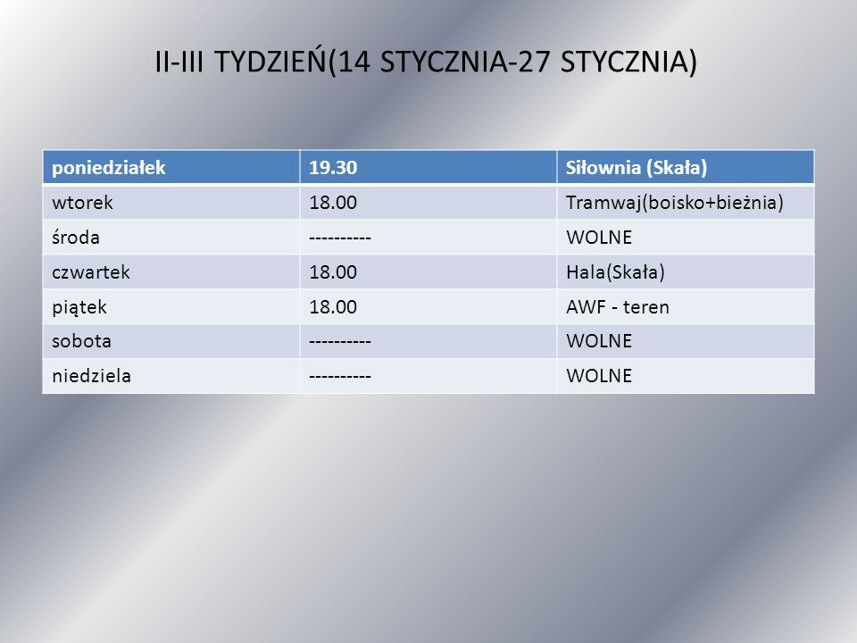 II-III TYDZIEŃ(14 STYCZNIA-27 STYCZNIA) poniedziałek19.30Siłownia (Skała) wtorek18.00Tramwaj(boisko+bieżnia) środa----------WOLNE czwartek18.00Hala(Sk