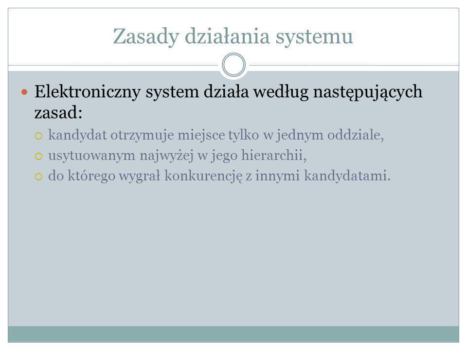 Zasady działania systemu Elektroniczny system działa według następujących zasad: kandydat otrzymuje miejsce tylko w jednym oddziale, usytuowanym najwy