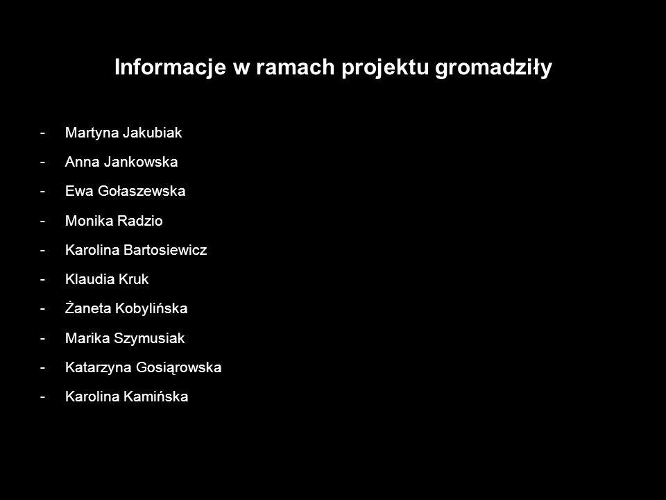 Informacje w ramach projektu gromadziły -Martyna Jakubiak -Anna Jankowska -Ewa Gołaszewska -Monika Radzio -Karolina Bartosiewicz -Klaudia Kruk -Żaneta Kobylińska -Marika Szymusiak -Katarzyna Gosiąrowska -Karolina Kamińska