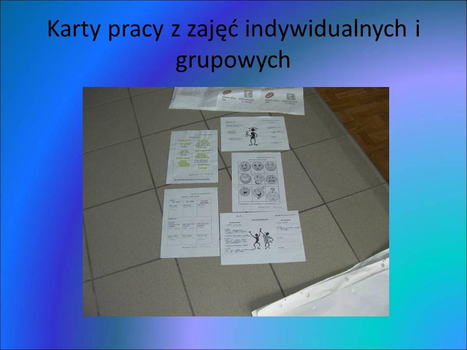 Karty pracy z zajęć indywidualnych i grupowych