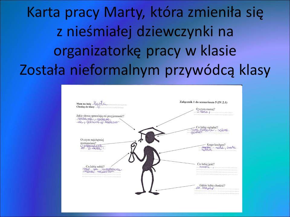 Karta pracy Marty, która zmieniła się z nieśmiałej dziewczynki na organizatorkę pracy w klasie Została nieformalnym przywódcą klasy