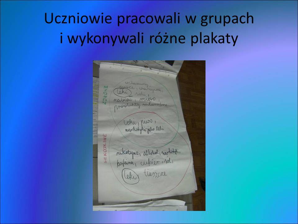 Uczniowie pracowali w grupach i wykonywali różne plakaty