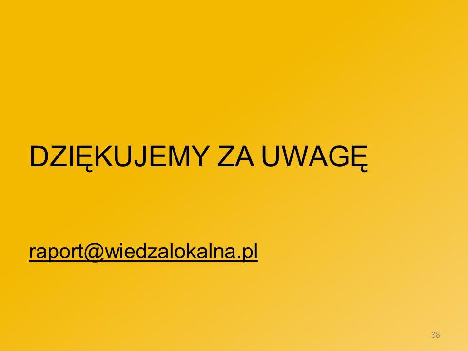 DZIĘKUJEMY ZA UWAGĘ raport@wiedzalokalna.pl 38