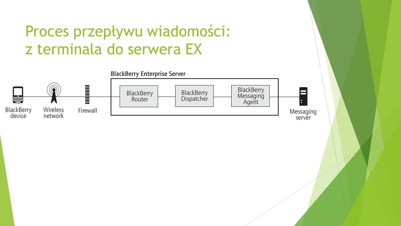 Proces przepływu wiadomości: z terminala do serwera EX