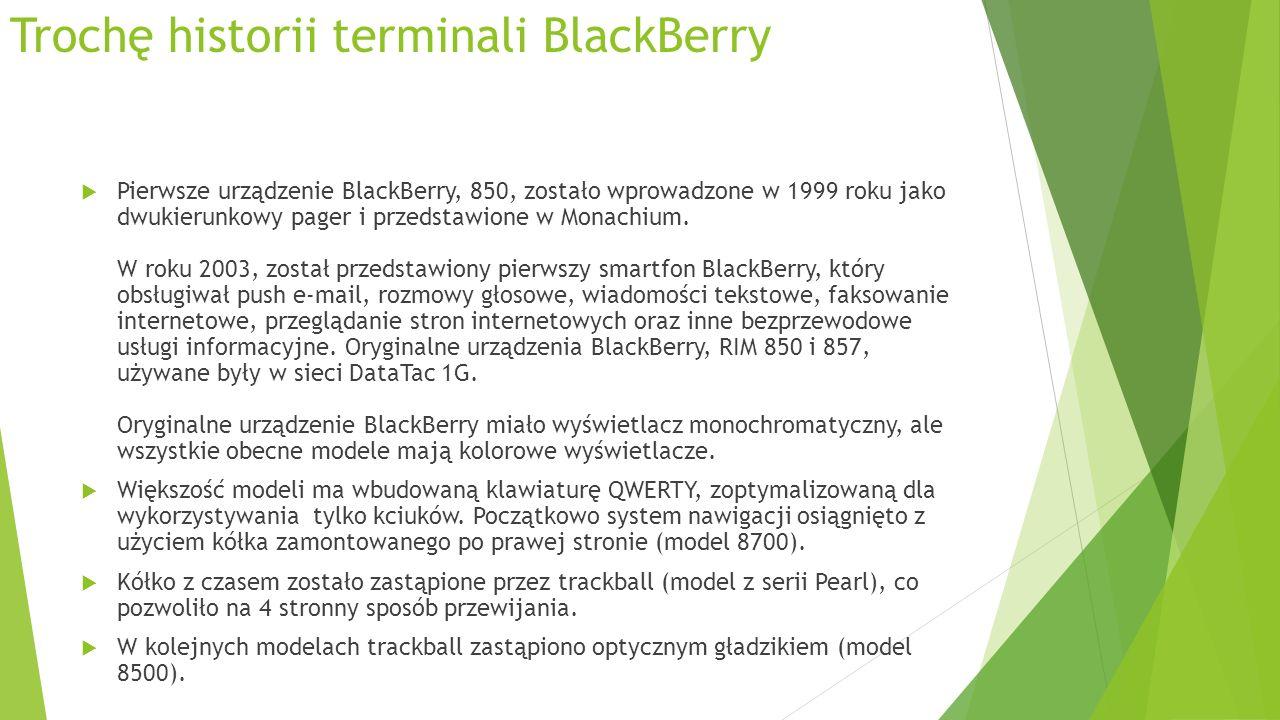 Trochę historii terminali BlackBerry Pierwsze urządzenie BlackBerry, 850, zostało wprowadzone w 1999 roku jako dwukierunkowy pager i przedstawione w Monachium.