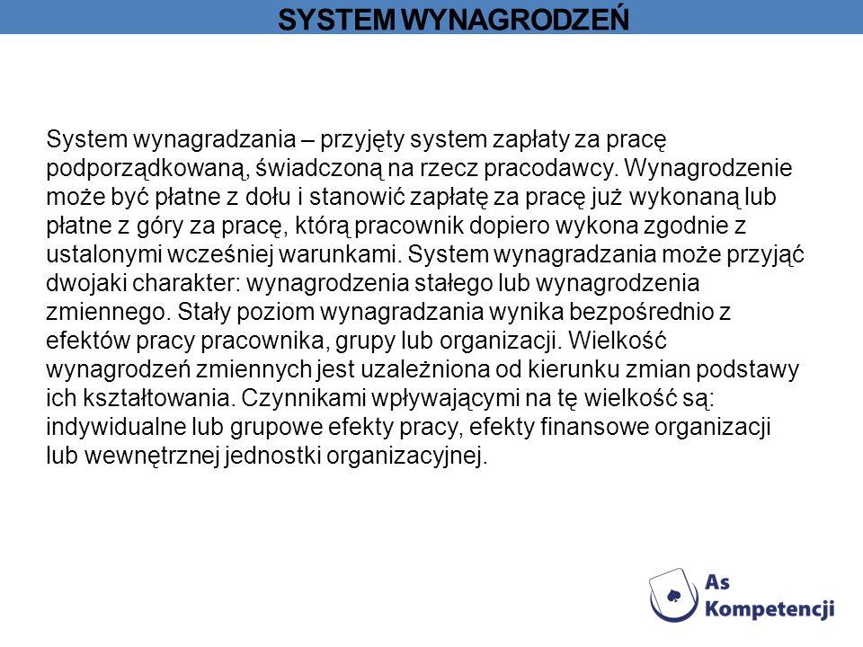 SYSTEM WYNAGRODZEŃ System wynagradzania – przyjęty system zapłaty za pracę podporządkowaną, świadczoną na rzecz pracodawcy.