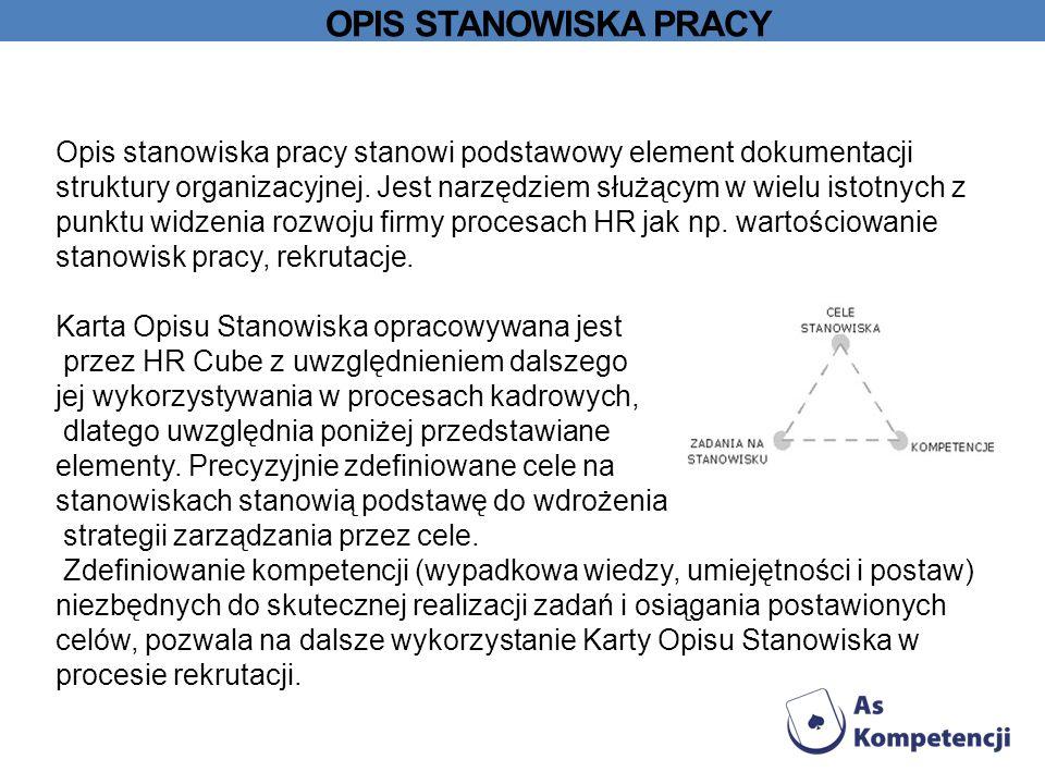 OPIS STANOWISKA PRACY Opis stanowiska pracy stanowi podstawowy element dokumentacji struktury organizacyjnej.