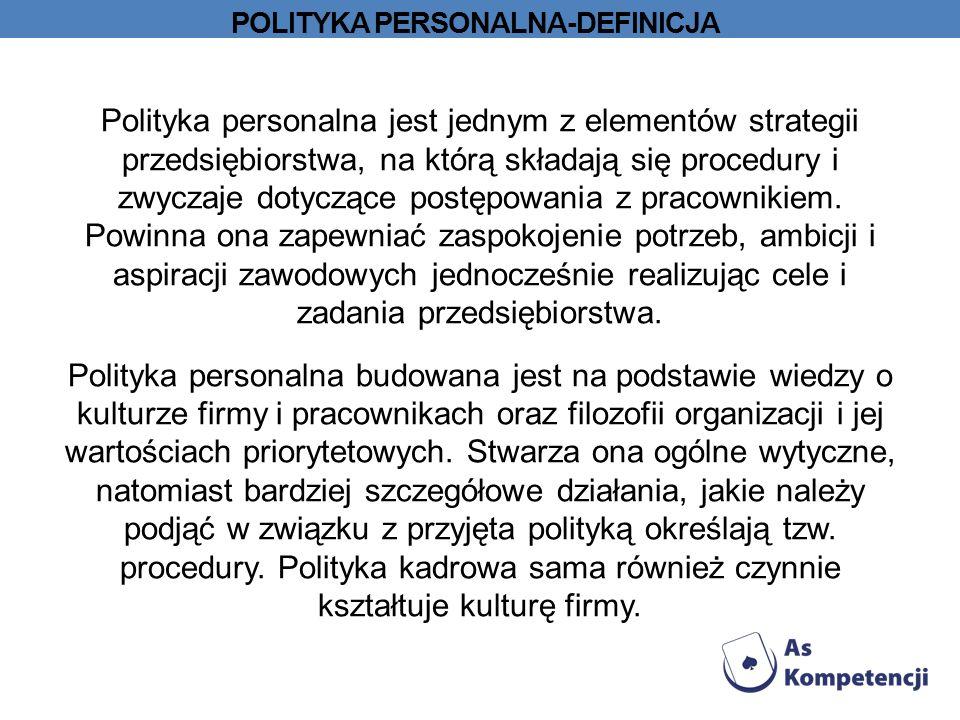 POLITYKA PERSONALNA-DEFINICJA Polityka personalna jest jednym z elementów strategii przedsiębiorstwa, na którą składają się procedury i zwyczaje dotyczące postępowania z pracownikiem.