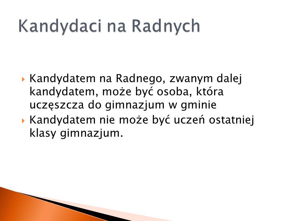 Kandydatem na Radnego, zwanym dalej kandydatem, może być osoba, która uczęszcza do gimnazjum w gminie Kandydatem nie może być uczeń ostatniej klasy gimnazjum.