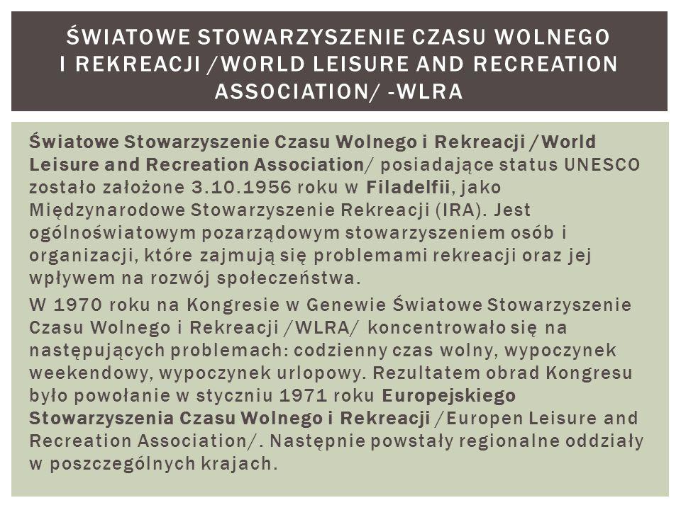 Światowe Stowarzyszenie Czasu Wolnego i Rekreacji /World Leisure and Recreation Association/ posiadające status UNESCO zostało założone 3.10.1956 roku