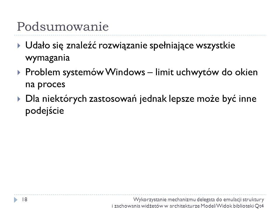 Podsumowanie Udało się znaleźć rozwiązanie spełniające wszystkie wymagania Problem systemów Windows – limit uchwytów do okien na proces Dla niektórych