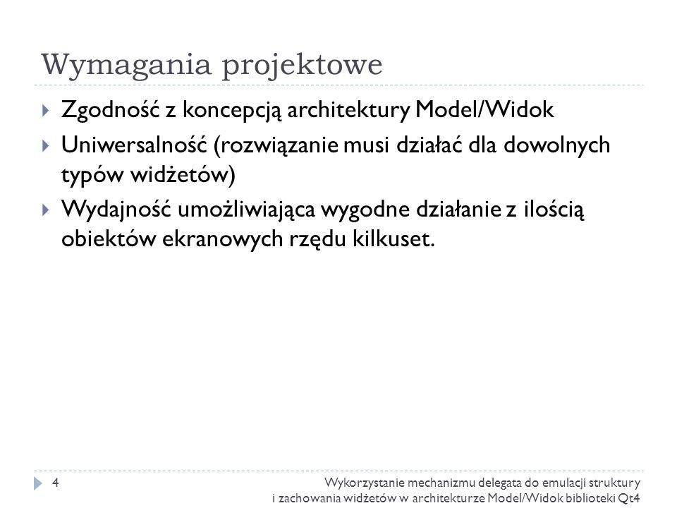 Wymagania projektowe Zgodność z koncepcją architektury Model/Widok Uniwersalność (rozwiązanie musi działać dla dowolnych typów widżetów) Wydajność umo