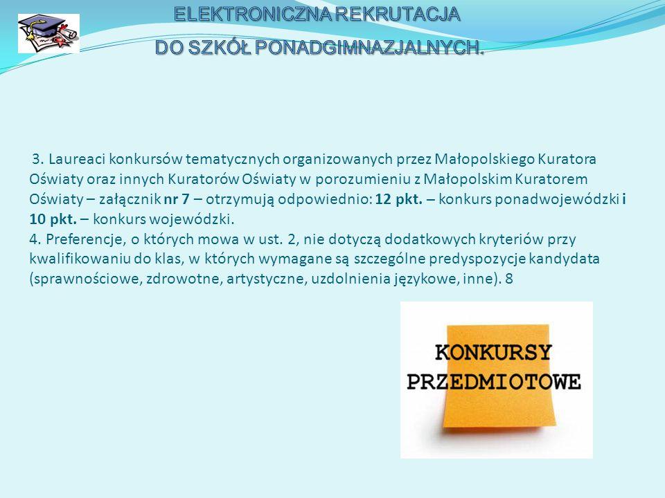 3. Laureaci konkursów tematycznych organizowanych przez Małopolskiego Kuratora Oświaty oraz innych Kuratorów Oświaty w porozumieniu z Małopolskim Kura