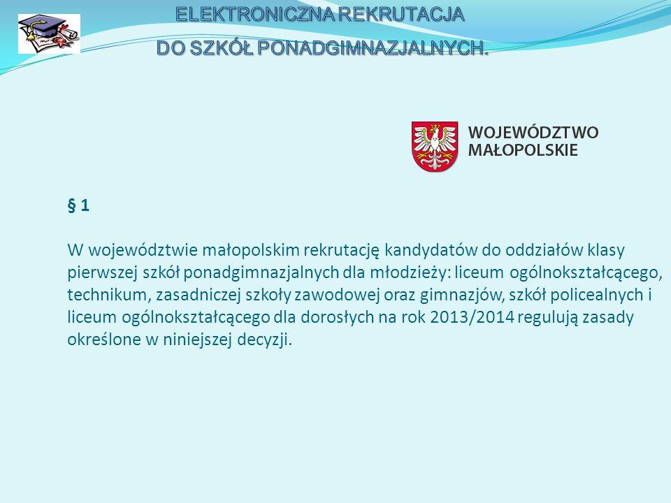 § 1 W województwie małopolskim rekrutację kandydatów do oddziałów klasy pierwszej szkół ponadgimnazjalnych dla młodzieży: liceum ogólnokształcącego, t