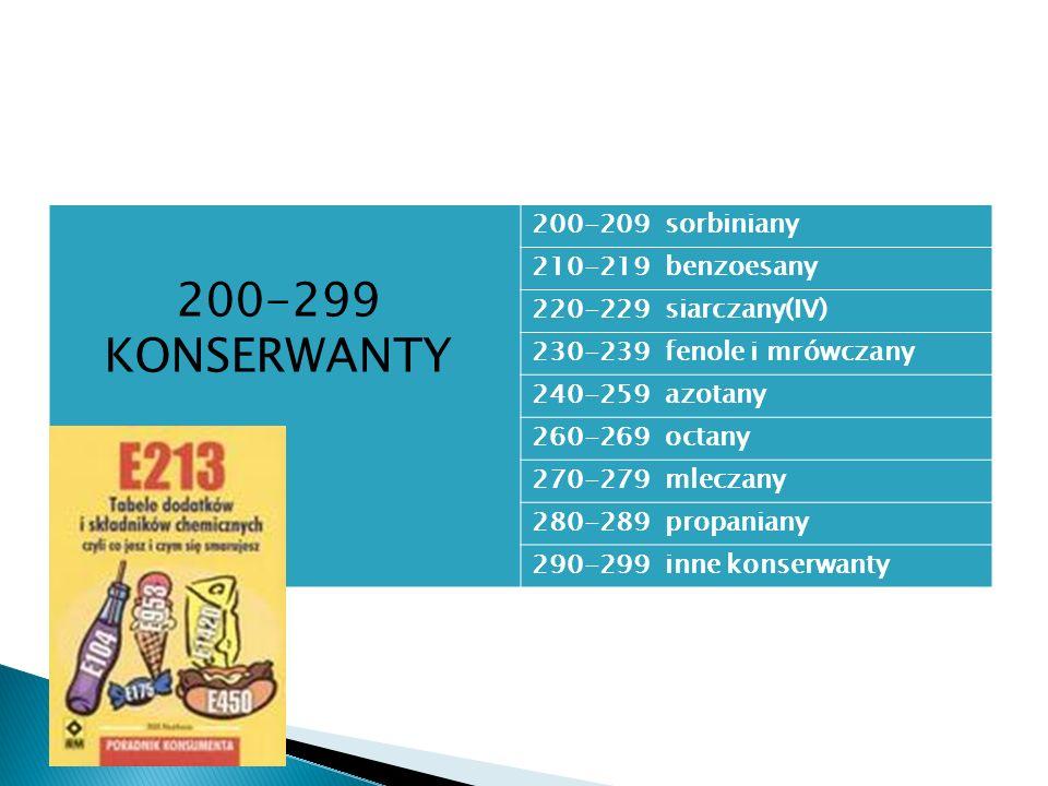 200-209 sorbiniany 210-219 benzoesany 220-229 siarczany(IV) 230-239 fenole i mrówczany 240-259 azotany 260-269 octany 270-279 mleczany 280-289 propani