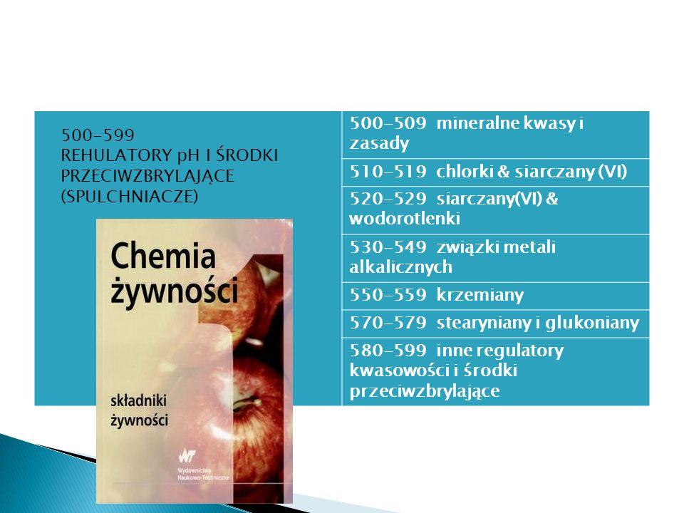 500-509 mineralne kwasy i zasady 510-519 chlorki & siarczany (VI) 520-529 siarczany(VI) & wodorotlenki 530-549 związki metali alkalicznych 550-559 krz