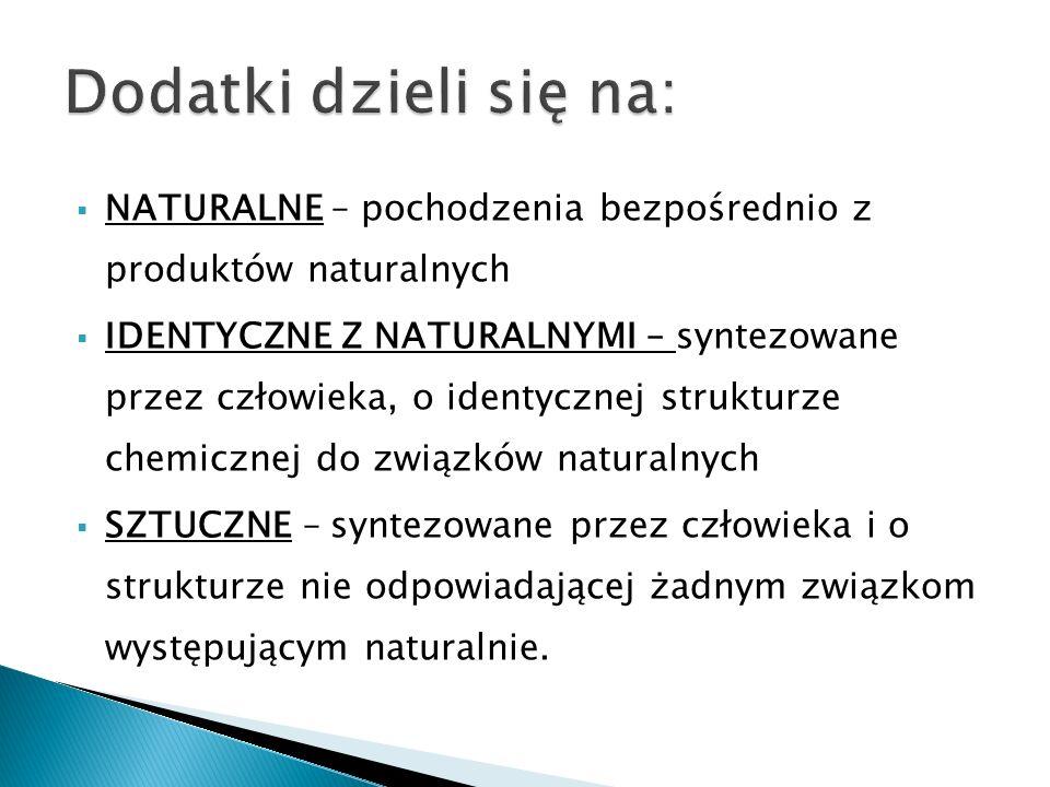 NATURALNE – pochodzenia bezpośrednio z produktów naturalnych IDENTYCZNE Z NATURALNYMI – syntezowane przez człowieka, o identycznej strukturze chemiczn