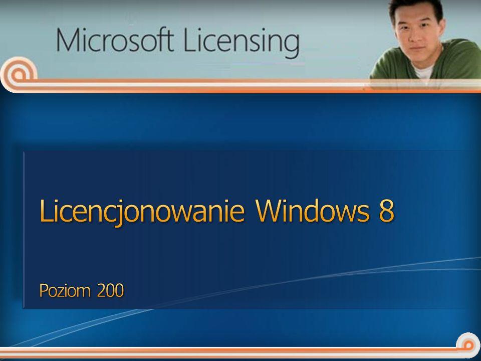 Dostępne w ramach: Software Assurance dla Windows Windows Intune VDA Główny użytkownik może (na uprawnionym urządzeniu innego producenta): uzyskiwać zdalny dostęp do dozwolonych wystąpień uruchamianych na serwerach w centrum danych uruchamiać jedno wystąpienie oprogramowania w wirtualnym OSE Dozwolone poza terenem firmy lub podmiotu stowarzyszonego Można korzystać jedynie do celów związanych z wykonywaną pracą.