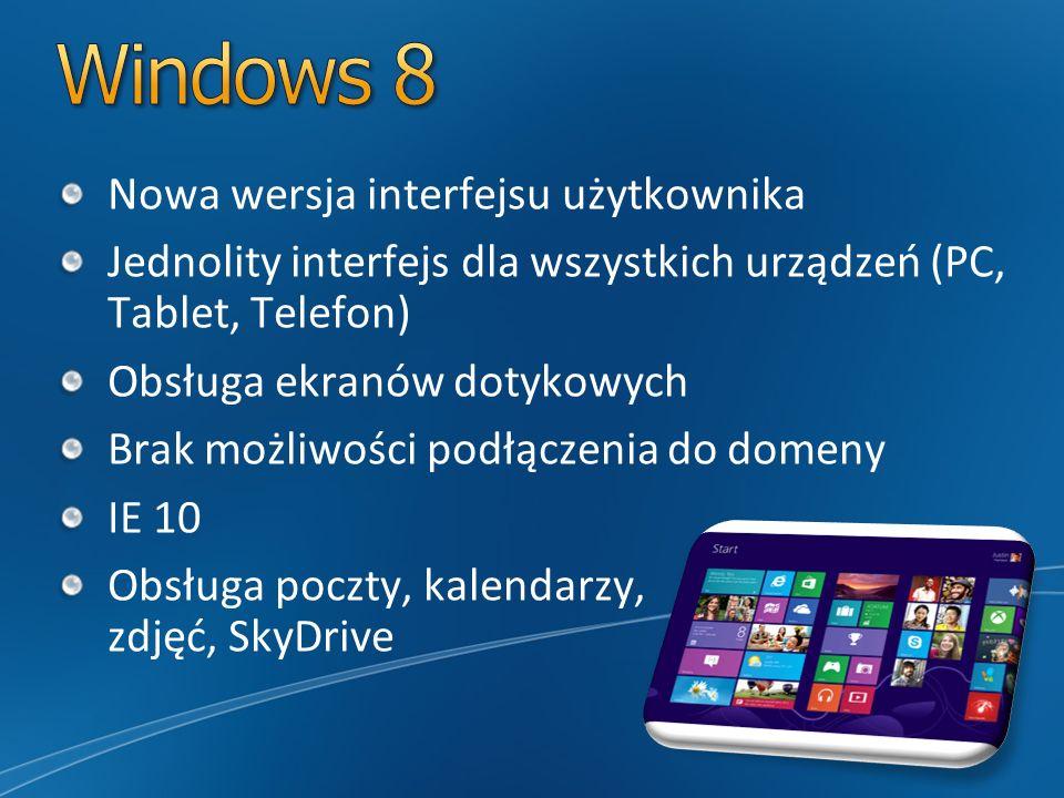 Nowa wersja interfejsu użytkownika Jednolity interfejs dla wszystkich urządzeń (PC, Tablet, Telefon) Obsługa ekranów dotykowych Brak możliwości podłąc