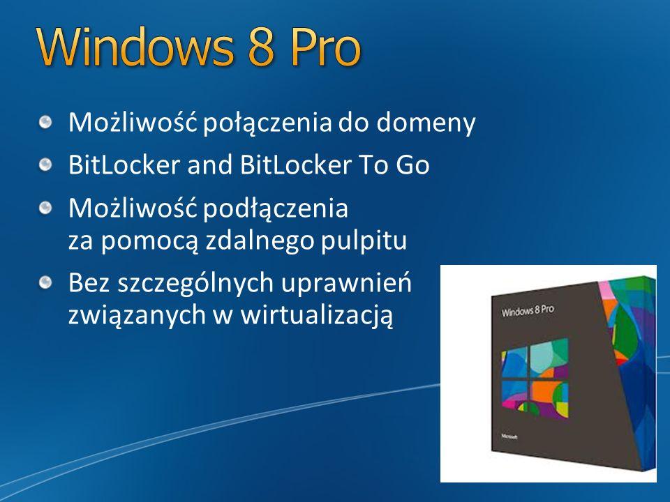 Możliwość połączenia do domeny BitLocker and BitLocker To Go Możliwość podłączenia za pomocą zdalnego pulpitu Bez szczególnych uprawnień związanych w