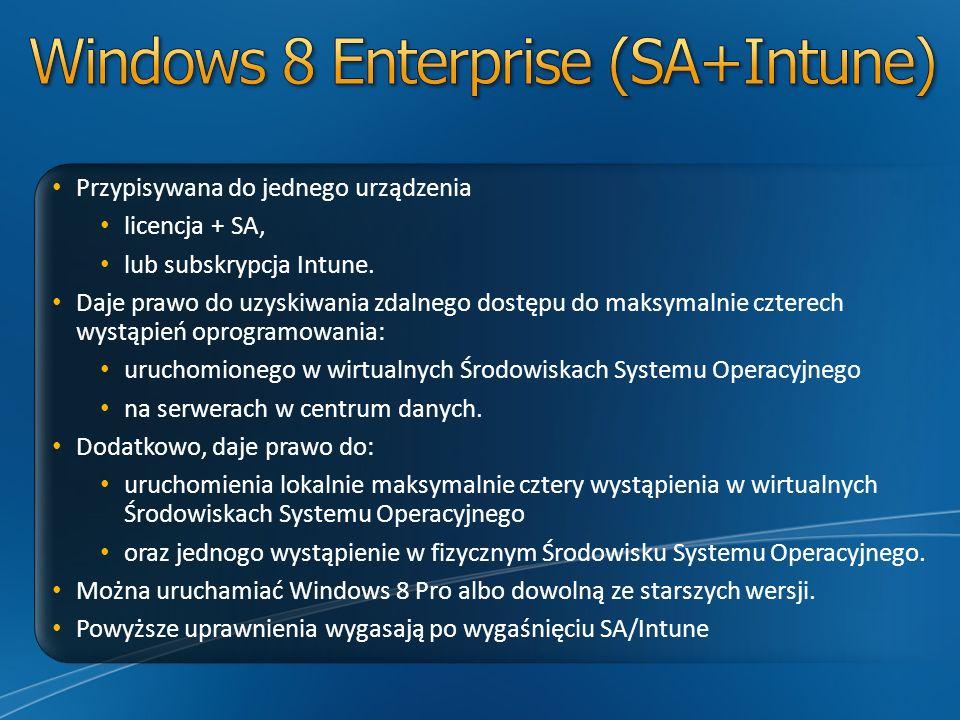 Przypisywana do jednego urządzenia licencja + SA, lub subskrypcja Intune. Daje prawo do uzyskiwania zdalnego dostępu do maksymalnie czterech wystąpień