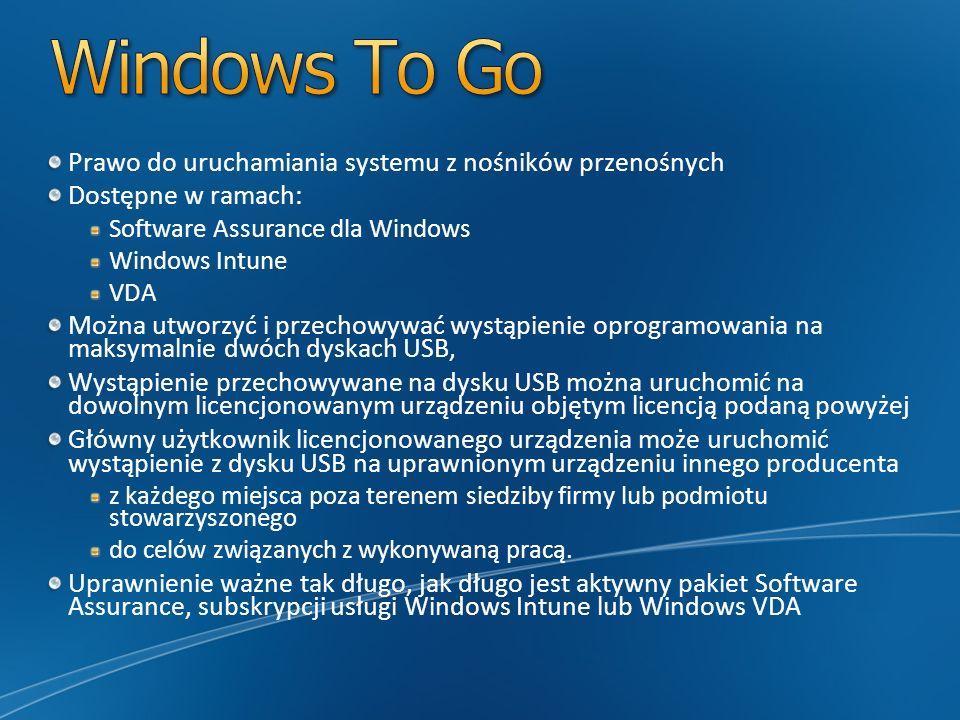 Prawo do uruchamiania systemu z nośników przenośnych Dostępne w ramach: Software Assurance dla Windows Windows Intune VDA Można utworzyć i przechowywa