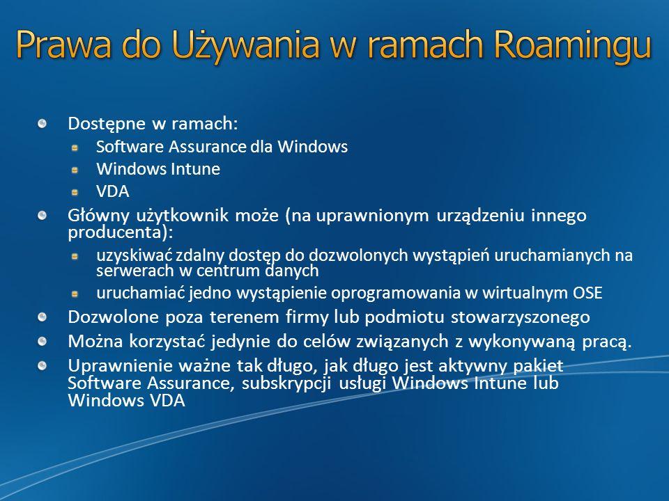 Dostępne w ramach: Software Assurance dla Windows Windows Intune VDA Główny użytkownik może (na uprawnionym urządzeniu innego producenta): uzyskiwać z