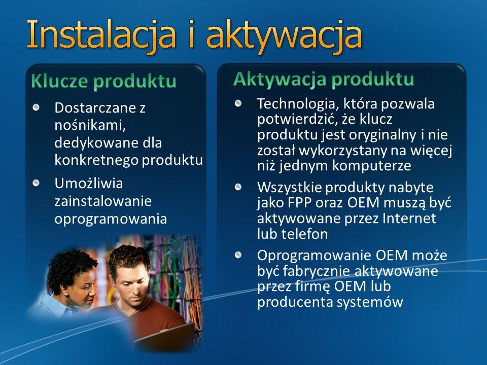 Narzędzie Product Activation jest technologią zaimplementowaną w Windows 7, Office 2010 oraz Windows Server 2008, dystrybuowanych w umowach grupowych Produkty te mogą być aktywowane na jeden z następujących sposobów: Klucz aktywacji wielokrotnej (Multiple Activation Key - MAK) – jednorazowa aktywacja, wykonywana na serwerach Microsoft Klucz usługi zarządzania kluczami (Key Management Service – KMS) – aktywacja wykonywana co 6 miesięcy na wewnętrznych serwerach firmowych Klucze udostępniane są w witrynie Volume Licensing Service Center (VLSC)