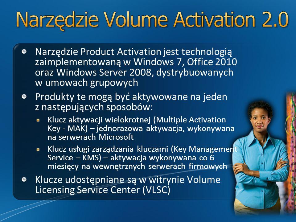 Narzędzie Product Activation jest technologią zaimplementowaną w Windows 7, Office 2010 oraz Windows Server 2008, dystrybuowanych w umowach grupowych