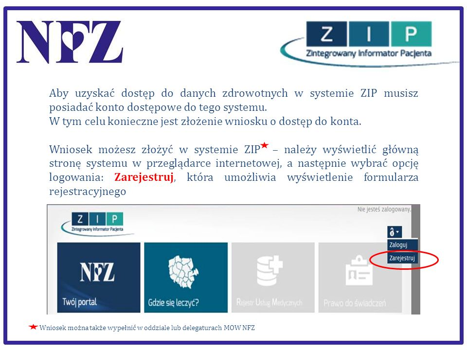 Aby uzyskać dostęp do danych zdrowotnych w systemie ZIP musisz posiadać konto dostępowe do tego systemu. W tym celu konieczne jest złożenie wniosku o