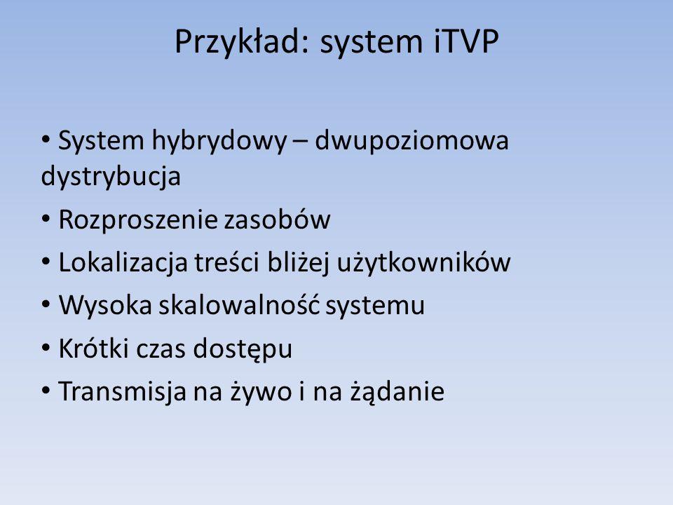Przykład: system iTVP System hybrydowy – dwupoziomowa dystrybucja Rozproszenie zasobów Lokalizacja treści bliżej użytkowników Wysoka skalowalność syst